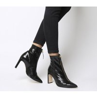 Office Avenge- Pointed Front Zip Heeled Boot BLACK LEATHER GOLD ZIP