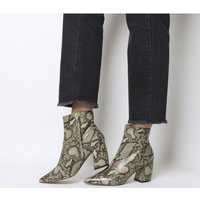 Office Aloud- Point Block Heel Boot NATURAL SNAKE