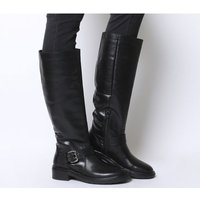 Office Kelly- Casual Buckle Knee Boot BLACK LEATHER