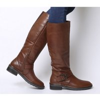Office Kelly- Casual Buckle Knee Boot BROWN LEATHER