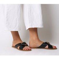 shop for Office Spirit- Ring Detail Mule Sandal BLACK LEATHER GOLD RING at Shopo