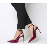 Office Hustler- Ankle Strap Court Shoe BERRY PATENT