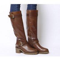 Office Kadi- Casual Mid Buckle Knee Boot TAN LEATHER