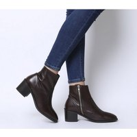 Office Alford- Unlined Block Heel Boot BROWN LEATHER