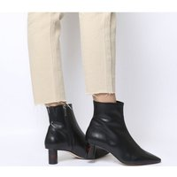 shop for Office Afflict- Cylindrical Heel Boot BLACK LEATHER TORTOISESHELL HEEL at Shopo