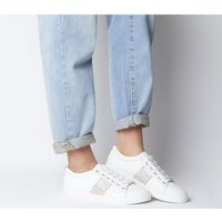 Office Fling Chain Detail Lace Up Trainer WHITE WITH STRASS