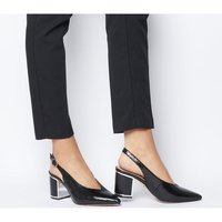 Office Magda Feature Heel Slingback BLACK SNAKE