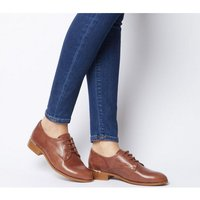 Office Format Lace Up With Heel Clip TAN LEATHER