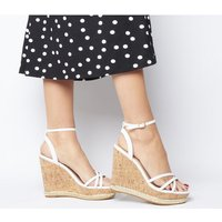 shop for Office Honcho Strappy Glam Cork Wedge WHITE at Shopo
