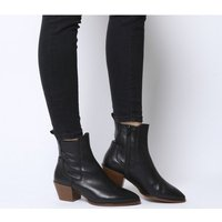 Office Acclaim- Chelsea Boot With Feature Western Heel BLACK LEATHER