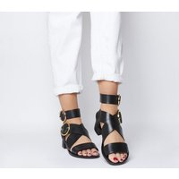 Office Stormy- Double Buckle Sandal BLACK LEATHER