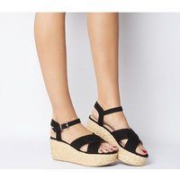 Office Myra Padded Cross Strap Raffia Wedge BLACK
