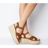 Office Myra Padded Cross Strap Raffia Wedge TAN