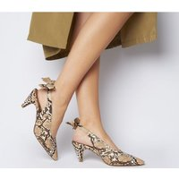 Office Memo Pointed Slingback With Bow NATURAL SNAKE