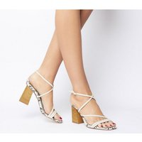 Office High Demand Strappy Upper Wood Heel OFF WHITE WITH SNAKE
