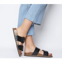 Office Saucy- Two Strap Buckle Footbed BLACK CROC LEATHER