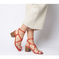 Office Mineral Toe Post Block Sandal RED LEATHER