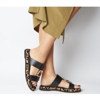 Office Stunner- Buckle Strap Mule Sandal BLACK LEATHER LEOPARD SOLE