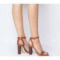 Office Healing Two Part Cylindrical Heel TAN LEATHER
