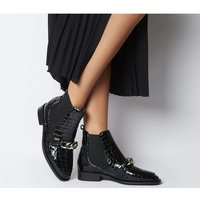 Office Arcade Chain Front Boot BLACK CROC PATENT LEATHER