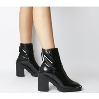 shop for Office Altitude- Chunky Sock Boot BLACK CRINKLE PATENT at Shopo