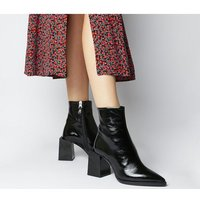shop for Office Axis- Extended Heel Pointed Boot SHINY BLACK LEATHER at Shopo