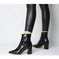 shop for Office Allure- Pointed Block Heel Boot BLACK SNAKE at Shopo