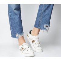 Office Freight Strappy Lace Up Trainer WHITE  GOLD