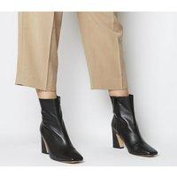 Office Advantage- Square Toe Block Heel Boot SOFT BLACK LEATHER