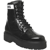shop for Tommy Hilfiger Platform Leather Flatform Boot BLACK at Shopo