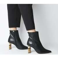 shop for Office Attention- High Feature Heel Boot BLACK LEATHER FEATURE HEEL at Shopo