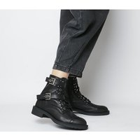 shop for Office Accomplice- Lace Up Buckle Boot BLACK LEATHER SILVER HARDWARE at Shopo