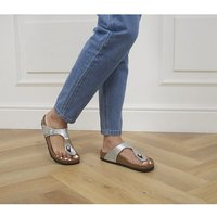 Birkenstock Toe Thong Footbed Silver Syn