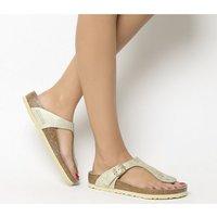 Birkenstock Toe Thong Footbed WASHED METALLIC CREAM GOLD