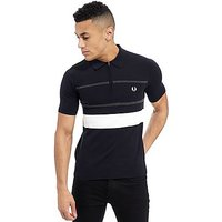 Fred Perry Textured Knit Zip Neck Polo Shirt - Navy - Mens