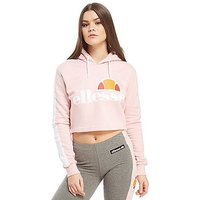 Ellesse Crop Panel Hoodie - Pink/White - Womens
