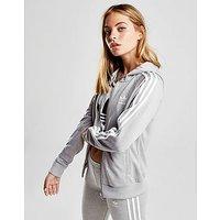 adidas Originals 3-Stripes Full Zip Hoodie - Grey/White - Womens