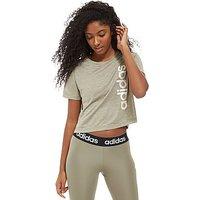 adidas Linear Crop T-Shirt - green - Womens