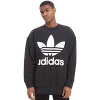 adidas Originals Trefoil Oversized Crew Sweatshirt - Black - Mens, Black