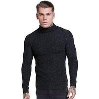 SikSilk Roll Neck Knitted Jumper - Black - Mens