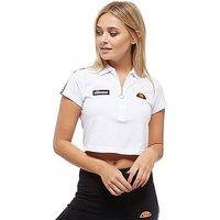 Ellesse Tape Crop 1/2 Zip Polo Shirt - White/Black - Womens
