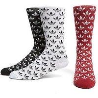 adidas Originals 3 Pack Crew Socks - Black/White/Burgundy - Mens