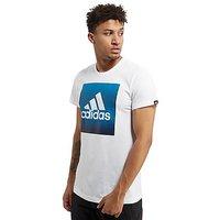 adidas Faded Box Logo T-Shirt - White/Blue - Mens