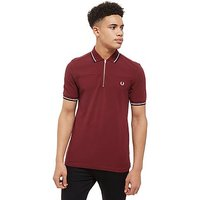 Fred Perry Zip Neck Polo Shirt - Port - Mens