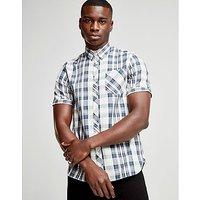 Fred Perry Short Sleeve Check Shirt - Navy/Ecru - Mens