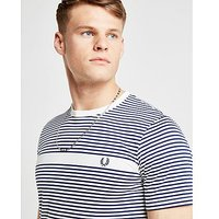 Fred Perry Stripe Short Sleeve T-Shirt - White/Dark Grey - Mens