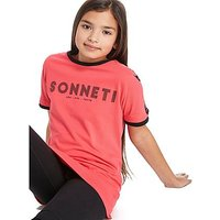 Sonneti Girls Panel Boyfriend T-Shirt Junior - Pink/Black - Kids