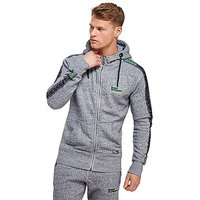 Superdry Sport Core Fleece Hoodie - Grey/Lime - Mens