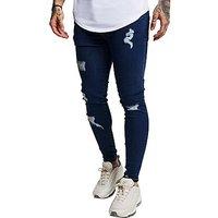 SikSilk Distressed Jeans - blue - Mens