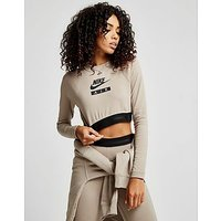 Nike Air Long Sleeve Crop Top - Sepia Stone/Black - Womens